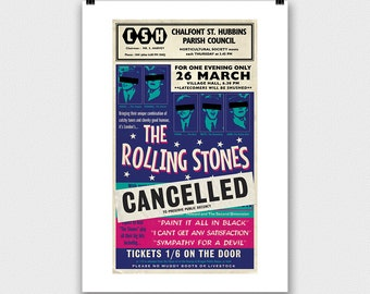 Rolling Stones Concert Poster, Mick Jagger, Keith Richards, Tour Poster, art print, retro 1960s gig, unique print, gift for Stones fan