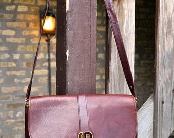 Vintage 1980's Burgundy Leather Christian Dior Envelope Shoulder Bag