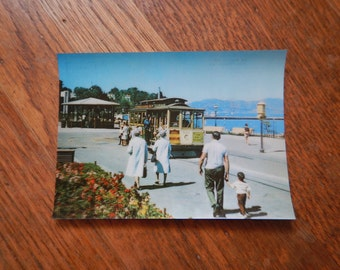 Retro 1960s Postcard San Francisco Cable Car Scene / Unique Kitschy Vintage 60s Ephemera, SF Maritime Museum State Park, Made in Japan