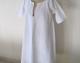 Antique French Pure Linen Hand Sewn Chemise 19th Century French Smock