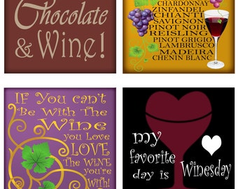 Wine Sayings Grapes Leaves Bottle Glass Corks Instant Download 4 Inch Squares 2 Sets of 4 Images Each JPEG (16-14)