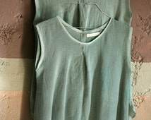 Grey linen cotton mix top hand colored, simple cut summer top