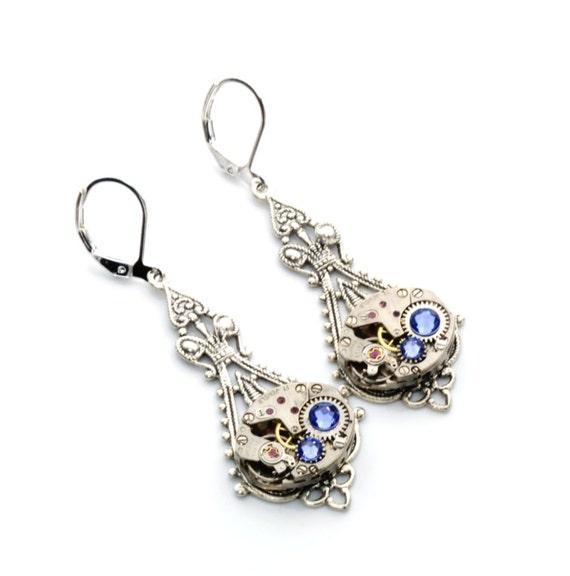 DECEMBER Steampunk Earrings, TANZANITE Steampunk Jewelry, Vintage Watch Earrings, Silver Steampunk Wedding Jewelry by Victorian Curiosities