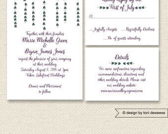 Printable Whimsical Wedding Invitation, Reply Card & Accommodations