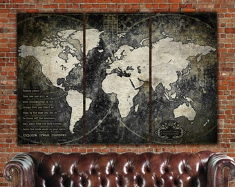 Industrial Push Pin or Canvas World Map, World Map Canvas, Vintage Map, Large Wall art, Industrial art, Travel map,