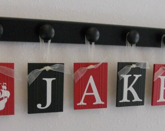 Pirate Ship Nautical | Personalized Gift | Nursery Name Wood Sign | Set includes Hooks Custom Painted Nameplate in Black and Red