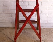 Vintage Red Wood Folding Step Stool, Step Ladder - Great Front Porch Decor!