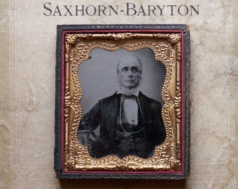 Antique Framed Tintype Photograph of a Distinguished Bearded Gentleman in Leather Backing Case - Great Halloween Decor