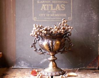 Vintage Large Brass Urn - Centerpiece - Floral Vase - Elegant Holiday Decor
