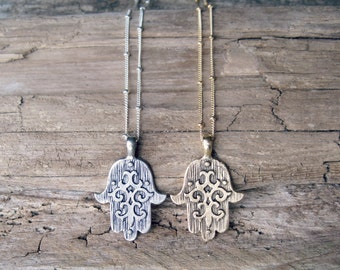 Hamsa Necklace // Hamsa Hand Necklace, Hamsa Pendant Necklace, Sterling Silver Necklace, Protection Necklace, Bohemian Yoga Jewelry
