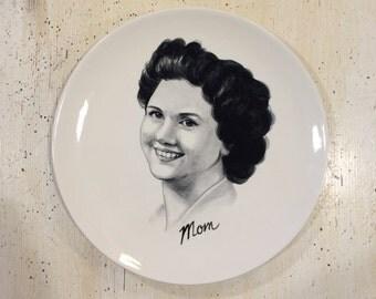 Custom hand painted portraits on ceramic plates
