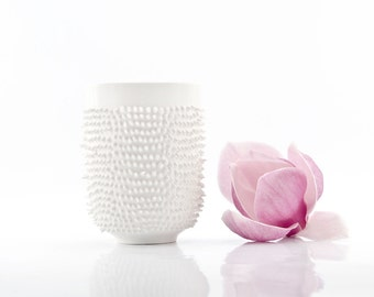 Tea or Coffee Mug with Spikes, Porcelain Tumbler with Spikes, Spiky Mug