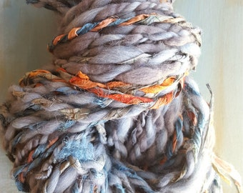 Yarn Light Blue Gold Blush Tan Beautiful Handspun thick n thin Wool Alpaca soft knitting supplies Ribbon crochet supplies fiber arts