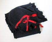 Long black cashmere ruffle scarf made from recycled sweaters--women's scarf--winter fashion--buffalo plaid trim