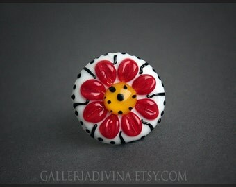 Lampwork glass ring Cocktail ring - Statement ring - red - yellow  flower OOAK - Adjustable ring