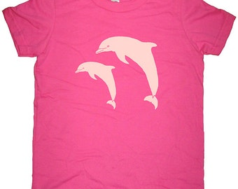 Dolphin Shirt - Dolphin Pair Kids Tee - Girls Love Dolphins Shirt - 7 Colors Available - T shirt Sizes 2T, 4T, 6, 8, 10, 12 - Gift Friendly