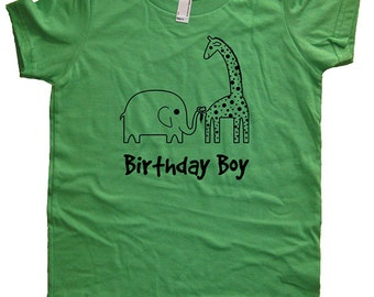 Birthday Shirt Elephant and Giraffe Kids Safari Jungle Birthday Boy Tee - Zoo Animals - Kids Tshirt Size 2T, 4T, 6, 8, 10, 12 Gift Friendly