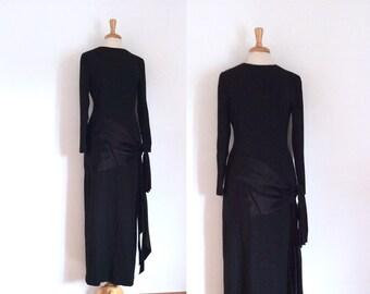 Dead stock NWT Bill Blass 1980s black long sleeve evening gown, size 10