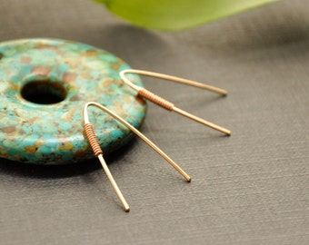 Copper Gold Earrings, V Open Hoop, Mixed Metal Earrings, Modern Wire Earrings, Minimalistic Copper Jewelry