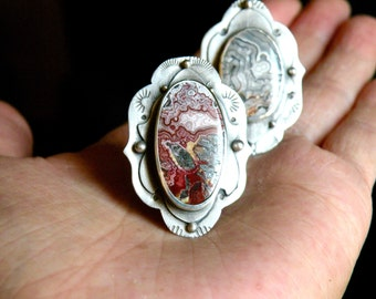 Sterling and Crazy Lace Agate Ring - Reign