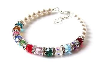 Mothers Birthstone Bracelet, Personalized Grandma Gifts, Mothers Bracelet, Mother of the Bride Gift, Mothers Bracelet, CHOOSE COLORS & SIZE