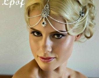 Bridal Headpiece Wedding Headpiece Hair Jewelry Head Jewellery Head Chain Headpiece Hair Accessory Bridesmaid Accessory Boho Headpiece Black