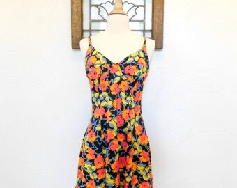 1980s / 1990s Neon Floral Dress Vintage 80's / 90's Smocked Sun Dress - S