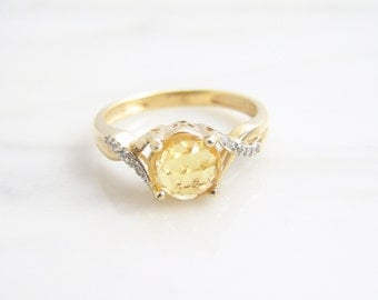 Vintage 1.15ct Natural Rose Cut Yellow Sapphire Diamond Ring 14k Yellow Gold