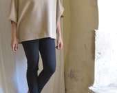 SALE Beige Tunic with Cropped Batwing Sleeves. Boiled Wool  - Slouchy and Loose  - Ready to Ship