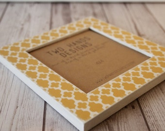 Gold Quatrefoil 4x4 Wood Square Picture Frame