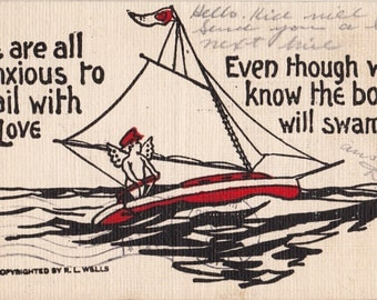 Anxious To Sail With Love- 1900s Antique Postcard- Winged Cupid- Edwardian Valentine- R L Wells- Sailboat Captain- Paper Ephemera- Used