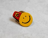 Shriners Pin, Happy Face with Red Hat, Vintage Pin, Vintage Lapel Pin, Vintage Tack Pin, Enameled Pin, Mens Jewelry, Fraternal Jewelry