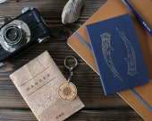 Compass Keychain - Laser Engaved Wooden Compass Keyfob For Him For Her