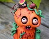 Pumpkin Spider Halloween Polymer Clay Sculpture