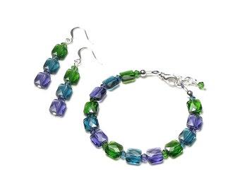 Swarovski Crystal Square Bead Silver Bracelet & Earrings in Fern Green Indicolite Teal Tanzanite Purple Modern Jewel Tone Jewelry for Women