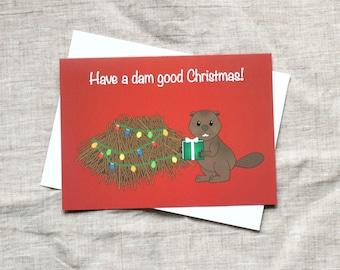 Funny Christmas Card (10 PACK), Beaver Christmas card - Cute Christmas Card, Christmas Pun, Funny Holiday Card, Canadian Christmas