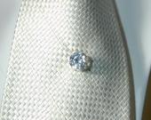 Large 1cm white sapphire tie tack