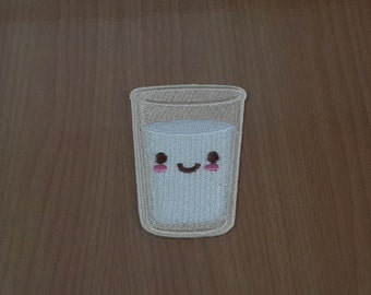 "Little Smiling Milk Glass Embroidered Iron on Patch size 1 5/8"" x 2 7/16"""