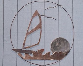 Wind Surfing Garden Decor, Yard Art For The Wind Surfer, Beach House Garden Decor