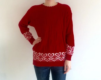1980s HIPSTER heart sweater / valentines day sweater / love / geek / nerd / ugly valentines day / photo prop