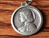 """Vintage Saint Joan of Arc & Saint Christopher Religious Medal Silver Pendant Jewelry on 18"""" sterling silver rolo chain"""