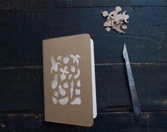 Handcut fruit & veggie mini Moleskine sketchbook/plain notebook