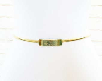 "Vintage 70s Gold Skinny Disco Belt Stretch Metal 24-30"" XS S M L"