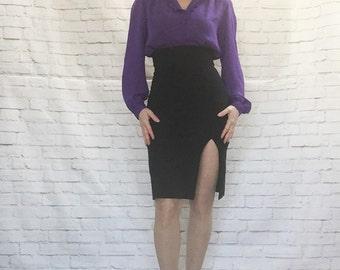 Vintage 80s Ruffled Purple Blouse L Long Sleeve Semi Sheer Gathered Puff Sleeves