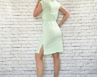 Vintage 70s Striped Green Dress XS S Belted Cap Sleeve Epaulets Side Slit
