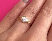 Tiny Cubic Zirconia Ring. CZ Diamond Gold Ring. Diamond Ring. Gold Filled Chain Ring. Simple Gold CZ Ring. Small Gold Ring. Delicate. Dainty