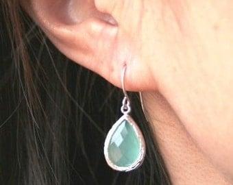 Silver Mint Earrings. Bridesmaid Jewelry. Mint Green. Aqua. Ice Mint Earrings.Blue.Bridesmaid Earrings.Wedding.Bridal Earrings.Drop Earrings