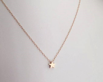 Tiny Rose Gold Star Necklace. Star Necklace. Gold Star Charm. Bridesmaid Necklace.Bridesmaid Gift.Wedding. Delicate.Dainty.Simple.Everyday.