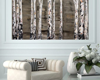 Original 24x36 Modern Neutral Aspen Birch Tree by MyImaginationIsYours