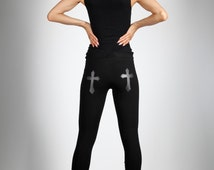 Cross Leggings, Vegan Leather, Black Stretch Cotton Pants, Glam Rock Clothing, Gothic Dance Wear, Minimalist Fashion, by LENA QUIST